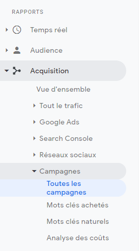 Campagnes Google Analytics