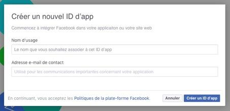 creez un nouvel identifiant dapplication - Comment intégrer le Facebook login sur son site internet WordPress